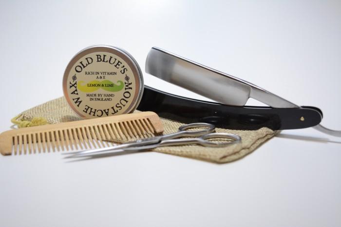 old blues moustache grooming kit lemon lime moustache wax comb scissors razor ebay. Black Bedroom Furniture Sets. Home Design Ideas