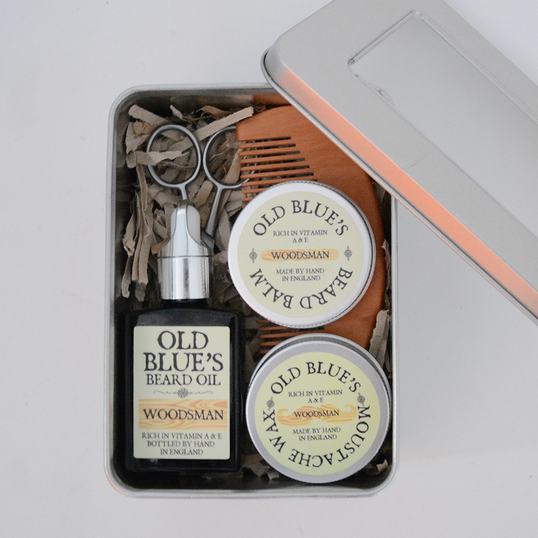 old blue 39 s beard kit beard oil moustache wax beard balm comb scissors in a tin ebay. Black Bedroom Furniture Sets. Home Design Ideas
